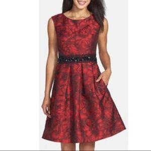 Eliza J Red brocade cocktail dress